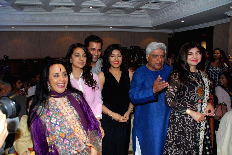 Actor Juhi Chawla,Ila Arun, Ganesh Hegde, Puja Miri Yajnik, Javed Akhtar and Alka Yagnik at the launch of Puja Miri Yajnik's book `The Curse of The Winwoods` in Mumbai, on Jan 5, 2015. - Juhi Chawla