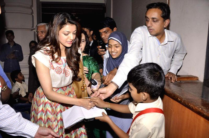 Actor Kajal Agarwal during fund collection drives for NGO - Alert India (Controlling Leprosy and spreading Cancer Awareness) in Mumbai on Feb 21, 2015.