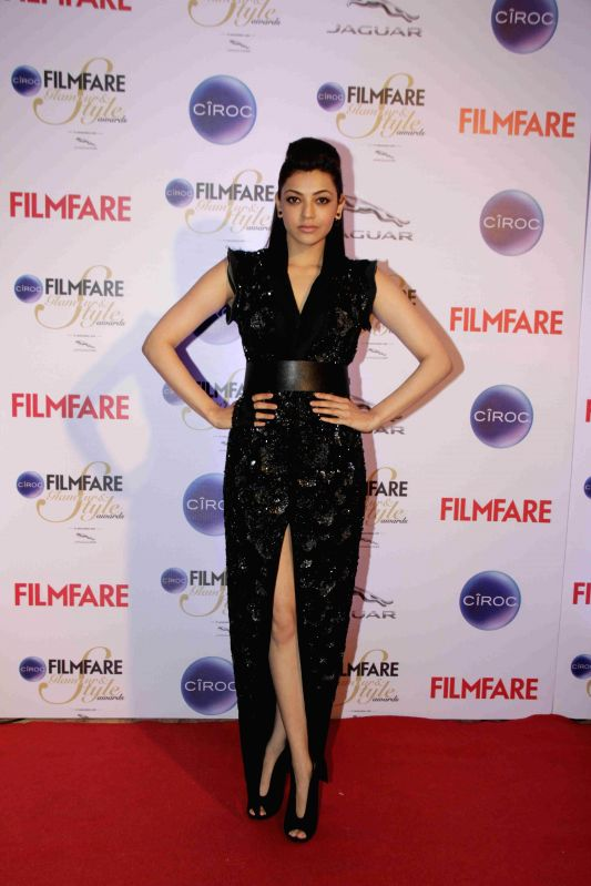 Actor Kajal Aggarwal during the Filmfare Glamour and Style Awards in Mumbai on Feb 26, 2015. - Kajal Aggarwal