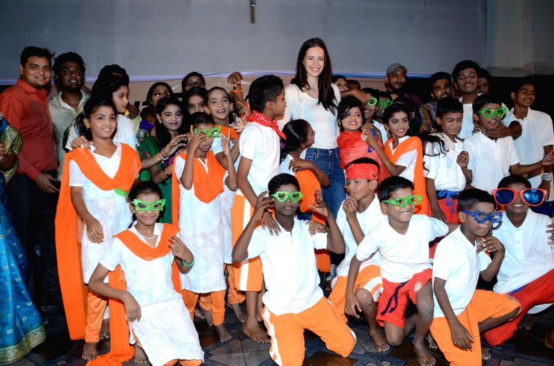 Actor Kalki Koechlin during screening of `Ishquiya Dharavi style` a play about love and sexuality performed by Dharavi youth in Mumbai on Feb 20, 2015. - Kalki Koechlin