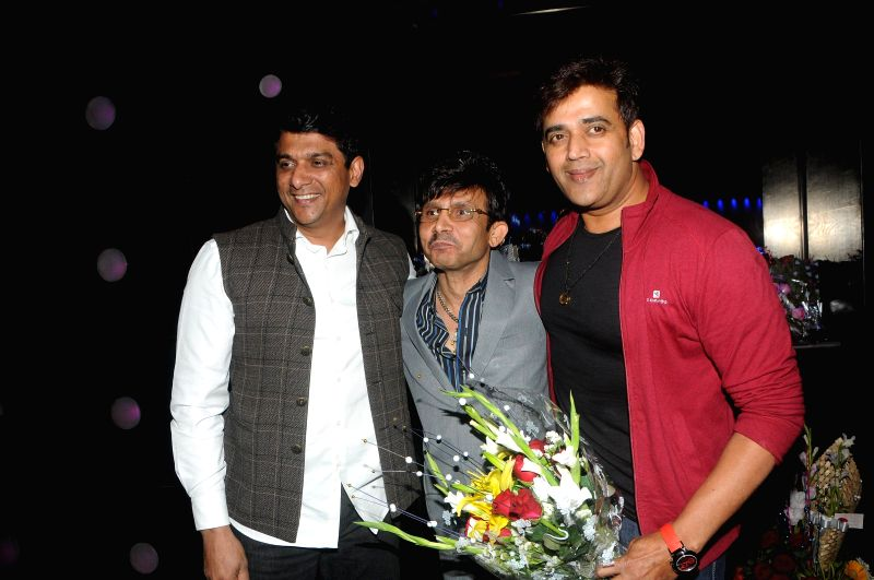 Actor Kamaal R Khan with Aslam Shaikh and Ravi Kishan during Kamal Khan's birthday party in Mumbai during Kamal Khan's birthday party in Mumbai, on jan. 08, 2015. - Kamaal R Khan