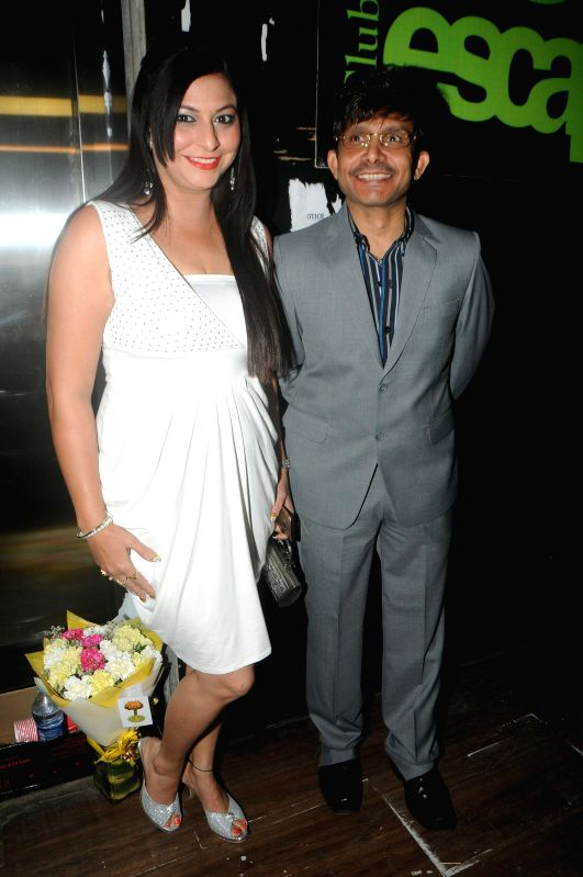 Actor Kamaal R Khan with Megha during Kamal Khan's birthday party in Mumbai during Kamal Khan's birthday party in Mumbai, on jan. 08, 2015. - Kamaal R Khan