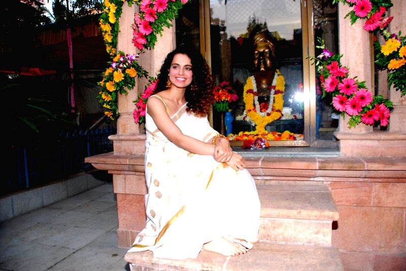 Actor Kangna Ranaut during her visit to Ramakrishna Mission in Mumbai, on Jan. 12, 2015.