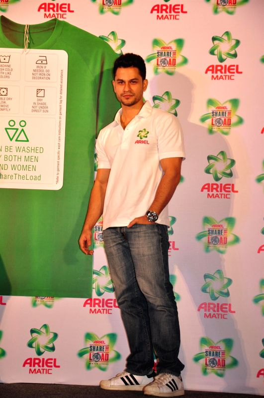 Actor Kunal Khemu during the launch of the Men & Women wash care label, by Ariel at the press conference held in Mumbai on April 14, 2015. - Kunal Khemu