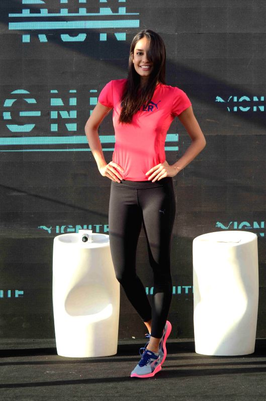 Actor Lisa Haydon during PUMA shoes promotional event in Mumbai on March 3, 2015.