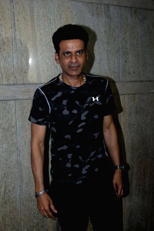"Mumbai: Actor Manoj Bajpayee at the screening of upcoming film ""India's Most Wanted"" in Mumbai, on May 20, 2019."