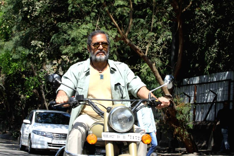 Actor Nana Patekar riding motorcycle during the promotion of upcoming film Ab Tak Chhappan 2 in Mumbai on 18th Feb, 2015.