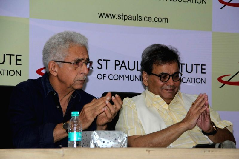 Actor Naseeruddin Shah and filmmaker Subhash Ghai during the launch of Spice institute's new facility in Mumbai on Feb 12, 2015.