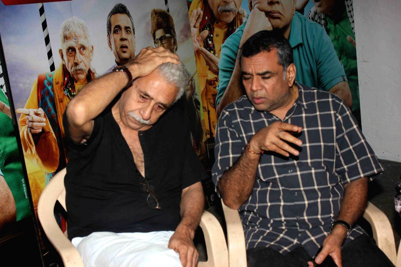 Actor Nasseruddin Shah and Paresh Rawal during media interaction of up coming film Dharam Sankat Mein in Mumbai on March 28, 2015. - Nasseruddin Shah