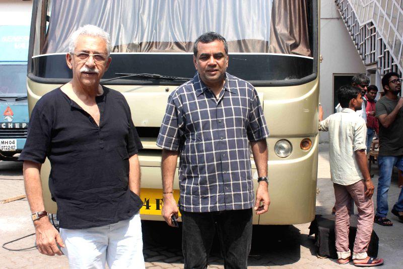 Actor Nasseruddin Shah and Paresh Rawal during media interaction of up coming film Dharam Sankat Mein in Mumbai on March 28, 2015. - Nasseruddin Shah