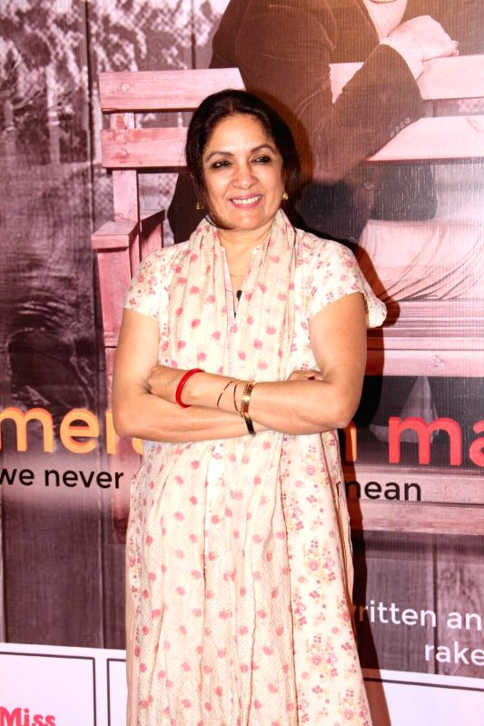 Actor Neena Gupta during the premier of play Mera Who Matlab Nahi Tha, in Mumbai, on March 8, 2015. - Neena Gupta