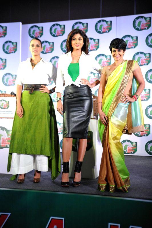 Actor Neha Dhupia, Shilpa Shetty Kundra, Mandira Bedi during a press conference in Mumbai, on jan. 08, 2015. - Neha Dhupia, Shilpa Shetty Kundra and Mandira Bedi