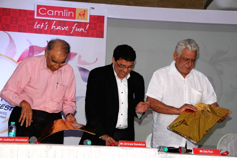 Actor Om Puri during the grand finale of Camlin art contest in Mumbai on Feb 27, 2015.