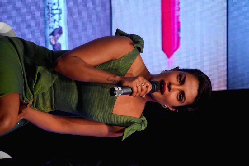 Actor Priyanka Chopra during the launch of Rajhans Nutriments Hoppit chocolate in Mumbai on Dec. 12, 2014.