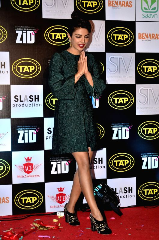 Actor Priyanka Chopra during the music celebration of film Zid, in Mumbai on Nov 25, 2014. - Priyanka Chopra