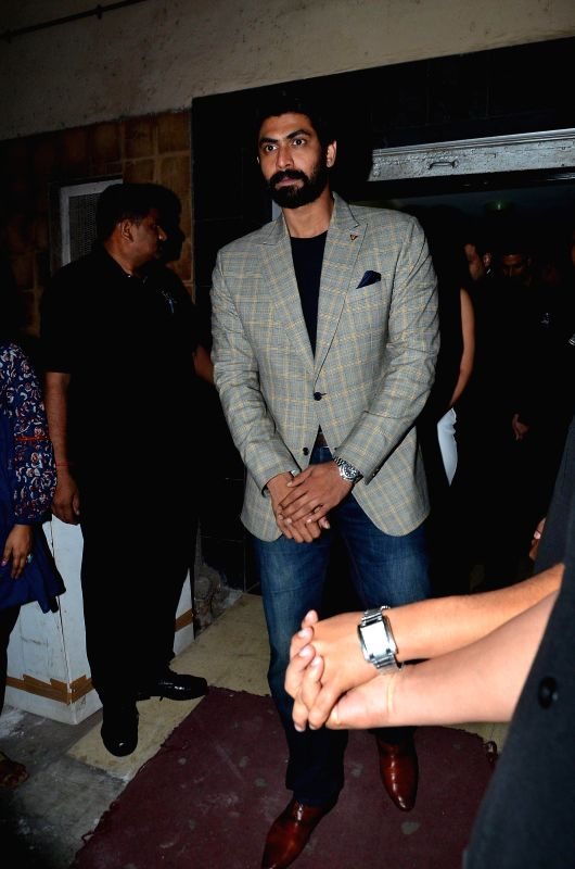 Actor Rana Daggubati during the premiere of film Baby in Mumbai, on Jan 23, 2015. - Rana Daggubati
