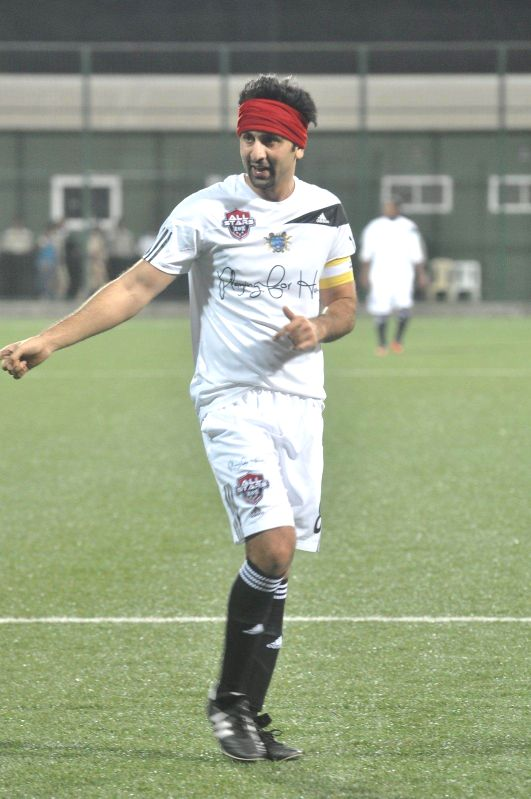 Actor Ranbir Kapoor during all stars football match in Mumbai on Feb 26, 2015. - Ranbir Kapoor