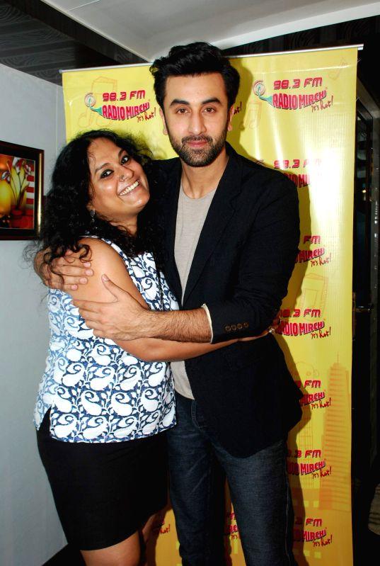 Actor Ranbir Kapoor with RJ Prackriti at film Bombay Velvet promotion at Radio Mirchi FM Studios in Mumbai on Wednesday, April 15th, 2015.