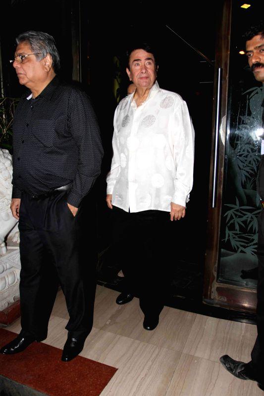 Actor Randhir Kapoor during Babita Kapoor`s birthday party in Mumbai, on April 19, 2015. - Randhir Kapoor