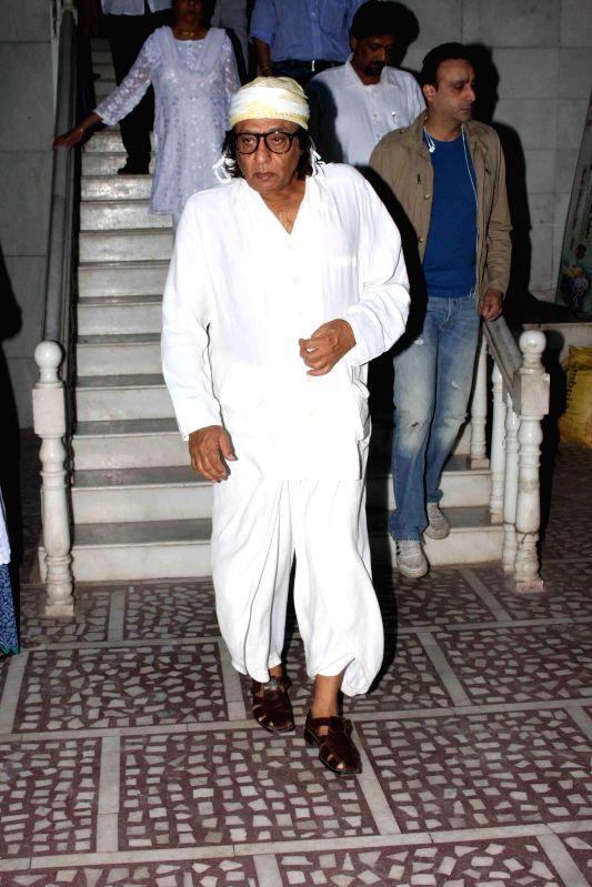 Actor Ranjeet during the condolence meeting of Amit Mehra, son of filmmaker Prakash Mehra, in Mumbai on March 3, 2015. - Ranjeet