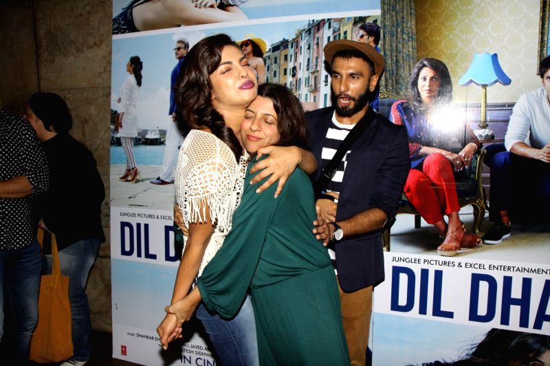 Actor Ranveer Singh, actress Priyanka Chopra and filmmaker Zoya Akhtar get together to watch the trailer of the movie Dil Dhadakne Do in Mumbai on Wednesday, April 15th, 2015. - Ranveer Singh and Priyanka Chopra