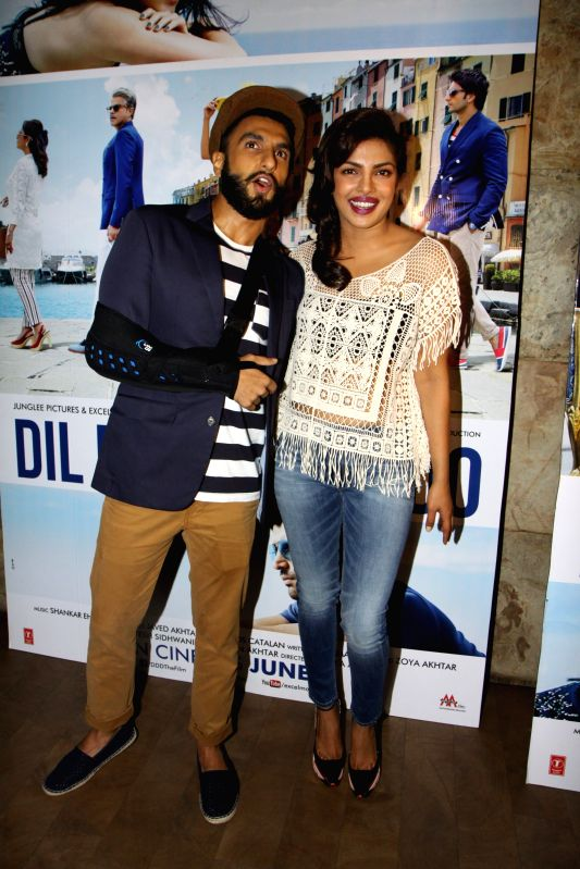 Actor Ranveer Singh and actress Priyanka Chopra get together to watch the trailer of the movie Dil Dhadakne Do in Mumbai on Wednesday, April 15th, 2015. - Ranveer Singh and Priyanka Chopra