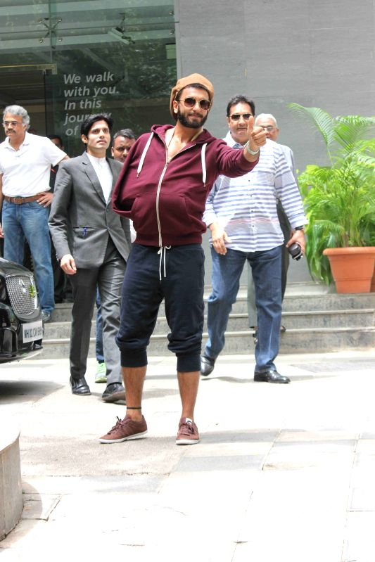 Actor Ranveer Singh comes out of a city hospital after undergoing a surgery for a shoulder injury he suffered on the set of filmmaker Sanjay Leela Bhansali`s next film Bajirao Mastani in ...