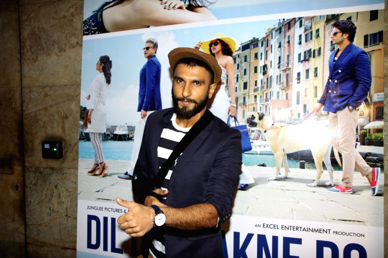 Actor Ranveer Singh get together to watch the trailer of the movie Dil Dhadakne Do in Mumbai on Wednesday, April 15th, 2015. - Ranveer Singh