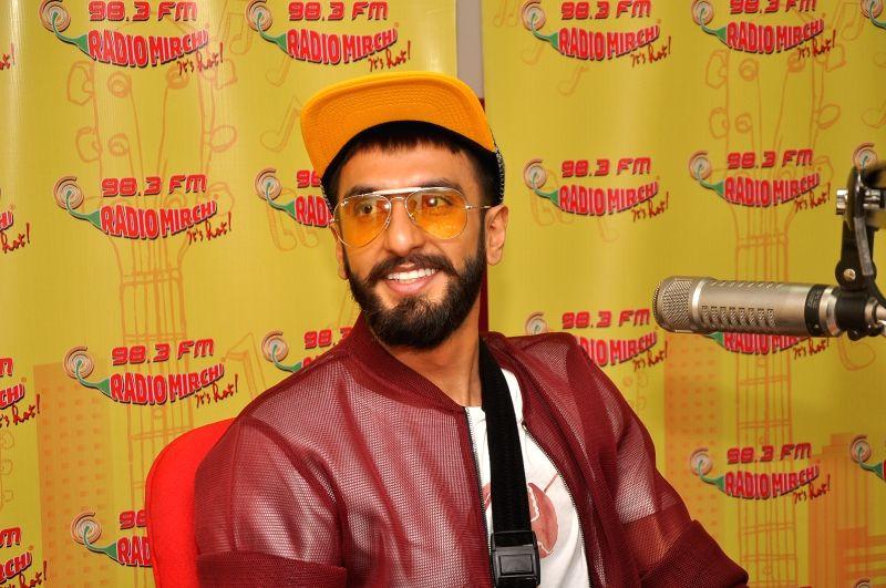 Actor Ranveer Singh promotes film Dil Dhadakne Do at Radio Mirchi FM studios in Mumbai 1st May 2015 - Ranveer Singh