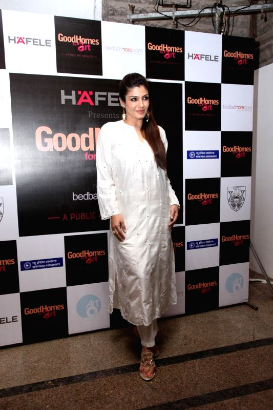 Actor Raveena Tondon during the announcement of the third edition of GoodHomes for Art in Mumbai, on Nov 27, 2014. - Raveena Tondon