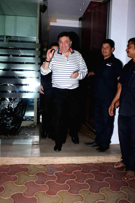 Actor Rishi Kapoor during the birthday party of actor Randhir Kapoor in Mumbai on Feb 15, 2015. - Rishi Kapoor