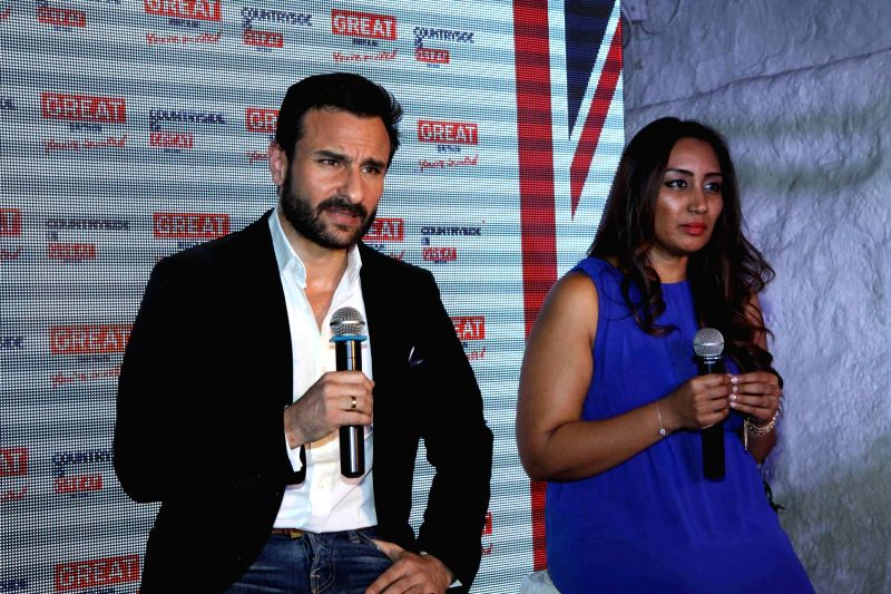 Actor Saif Ali Khan and  Sumathi Ramanathan, Regional General Manager, Asia Pacific & Middle East Visit Britain during the launch of Bollywood Britain tourism campaign  in India at Olive ...
