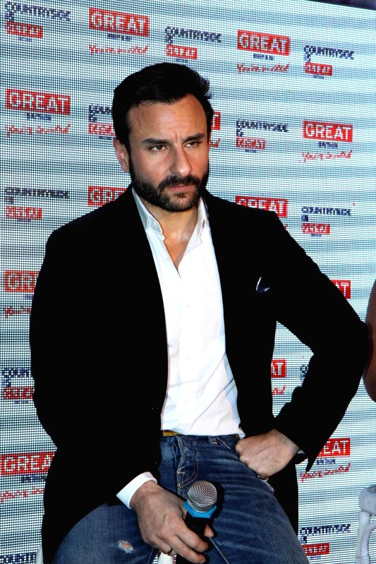Actor Saif Ali Khan announced as the brand ambassador for Middle East Visit Britain  during the launch of Bollywood Britain tourism campaign  in india at Olive Bar in Mumbai on March 9, 2015.