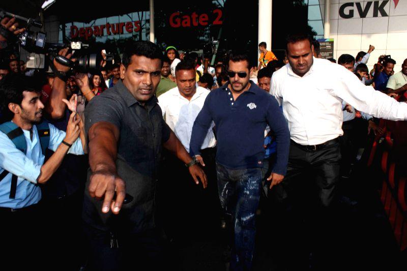 Actor Salman Khan arrives at Mumbai Airport in Mumbai on May 5, 2015.