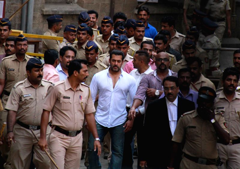 Actor Salman Khan comes out of a Mumbai Court on May 8, 2015. The Bombay High Court suspended his five-year jail sentence in a 2002 hit-and-run case that killed a man, paving the way for him ...
