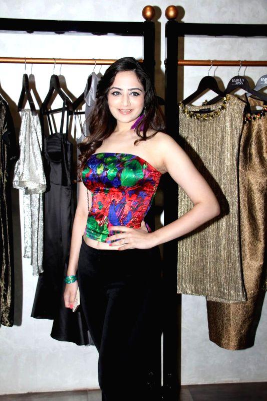 Actor Sana Khan during a SS15 fashion soiree of Harsh Harsh by fashion designer Harsh Gupta in Mumbai on March 11, 2015. - Sana Khan and Gupta