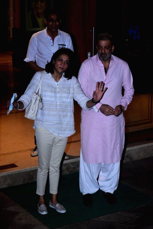 Mumbai: Actor Sanjay Dutt and his sister Priya Dutt seen outside their Bandra home in Mumbai on Oct 21, 2020. (Photo: IANS)