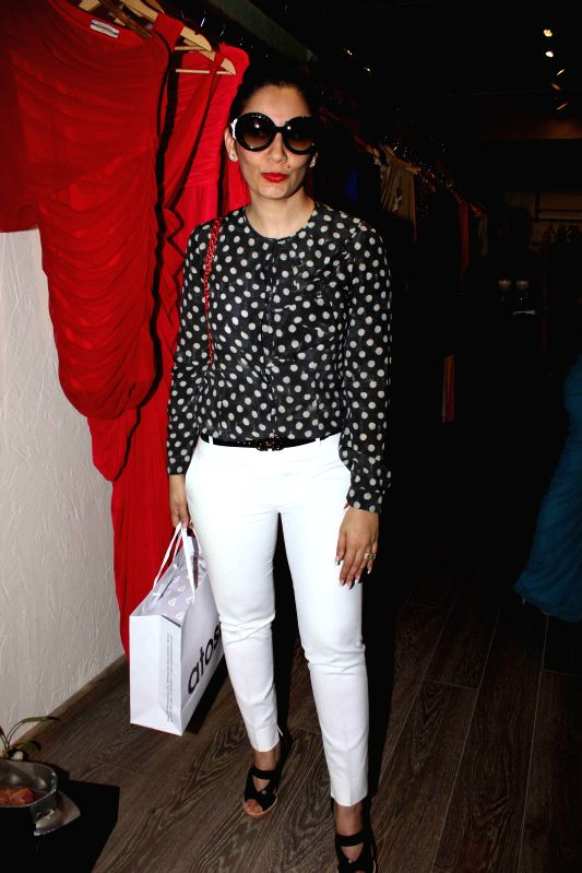 Actor Sanjay Dutt's wife Manyata Dutt during the launch of Naked, a bath & beauty collection designed by Azmina Rahimtoola and Aparna Badlani in Mumbai, on Jan 30, 2015. - Sanjay Dutt and Manyata Dutt