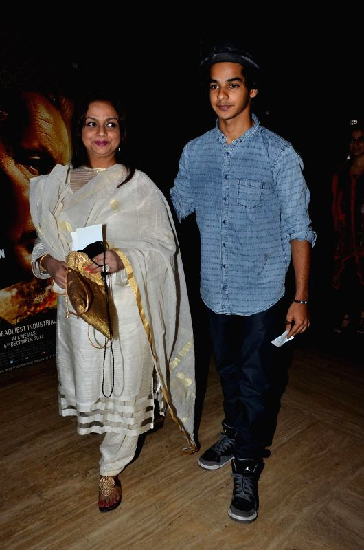 Actor Shahid Kapoor's mother Neelima Azeem and his brother Ishaan Khattar during the premiere of film Bhopal: A Prayer for Rain in Mumbai, on December 4, 2014. - Shahid Kapoor and Ishaan Khattar
