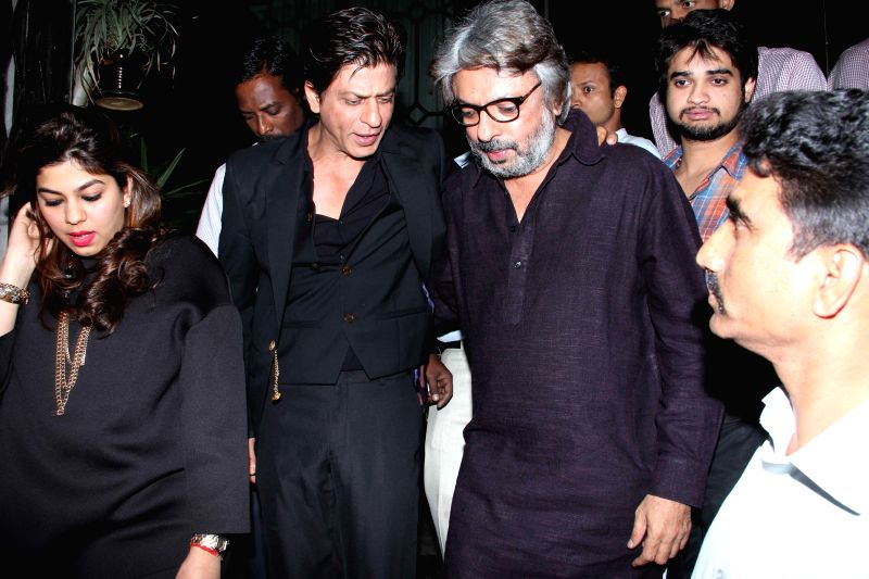 Actor Shahrukh Khan during the party hosted by filmmaker Sanjay Leela Bhansali in Mumbai, on Jan 27, 2015. Bhansali organised a party to celebrate his Padma Shri honour. - Shahrukh Khan