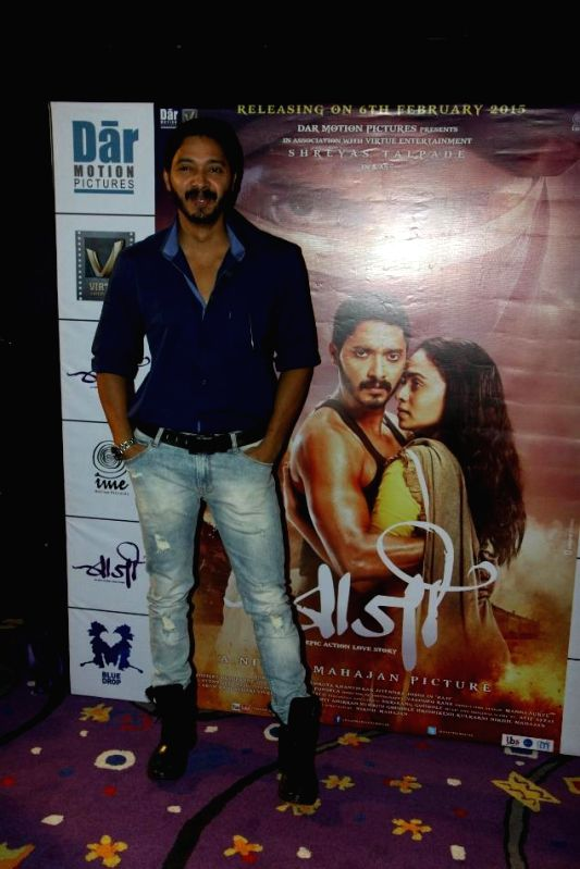 Actor Shreyas Talpade during the first look and theatrical trailer launch of Shreyas Talpade starrer `Baji` in Mumbai, on Dec 9, 2014.