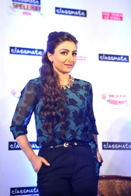 Actor Soha Ali Khan during the announcement of winner of Classmate SpellBee7 in Mumbai, on Dec. 22, 2014.