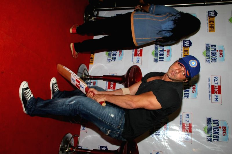 Actor Sohail Khan during the Big FM announces biggest cricket fan winner with a ticket to the ICC World Cup Finals to Australia, in Mumbai, on March 10, 2015. - Sohail Khan