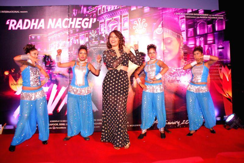 Actor Sonakshi Sinha during the launch of song Radha from film Tevar, in Mumbai on Nov 25, 2014. - Sonakshi Sinha