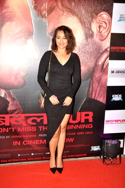 Actor Sonakshi Sinha during the success party of the film Badlapur in Mumbai on Feb 27, 2015. - Sonakshi Sinha
