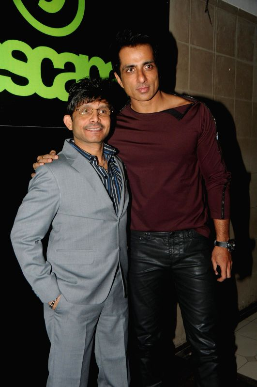 Actor Sonu Sood and Kamal Khan during Kamal Khan's birthday party in Mumbai, on jan. 08, 2015. - Sonu Sood
