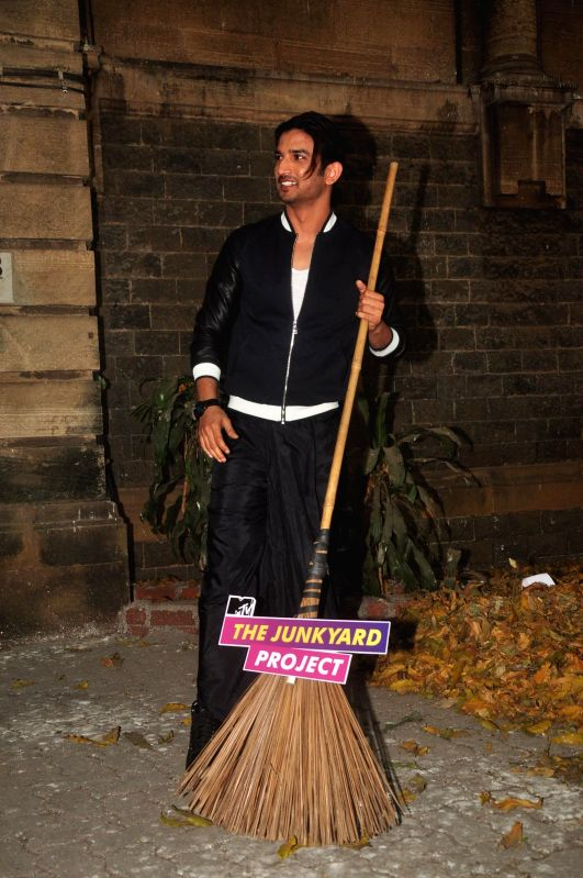 Actor Sushant Singh Rajput during MTV Junkyard clean up drive at J. J. School of fine arts in Mumbai on Feb 20, 2015. - Sushant Singh Rajput