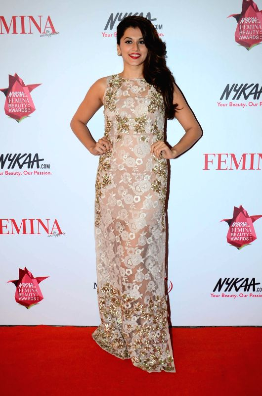 Actor Taapsee Pannu during the Nykaa.com Femina Beauty Awards 2015 in Mumbai, on Feb 11, 2015. - Taapsee Pannu