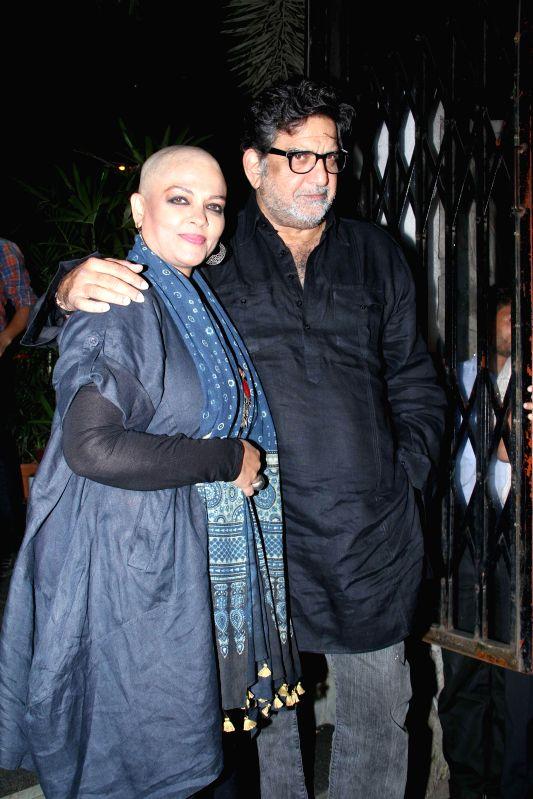 Actor Tanvi Azmi with his husband Baba Azmi during the party hosted by filmmaker Sanjay Leela Bhansali in Mumbai, on Jan 27, 2015. Bhansali organised a party to celebrate his Padma Shri ... - Tanvi Azmi