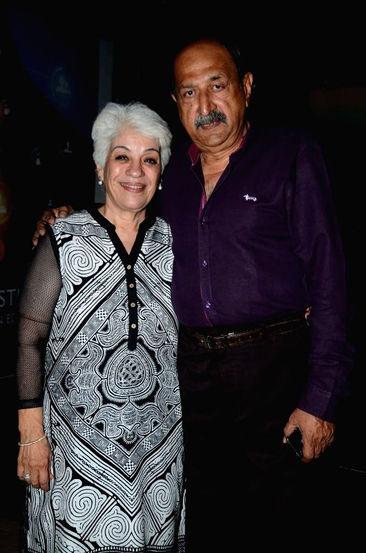 Actor Tinnu Anand with wife during the book launch of Susheela Pathak`s `Great Grandma`s Kitchen Secret` in Mumbai on  March 29, 2015. - Tinnu Anand